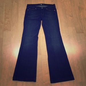 7 for all mankind flare bottom dark jeans